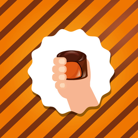 sweet candy sticker hand holding chocolate macaron caramel vector illustration 向量圖像