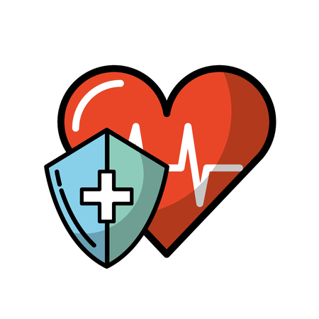 medical shield protection heart rate cardiology vector illustration