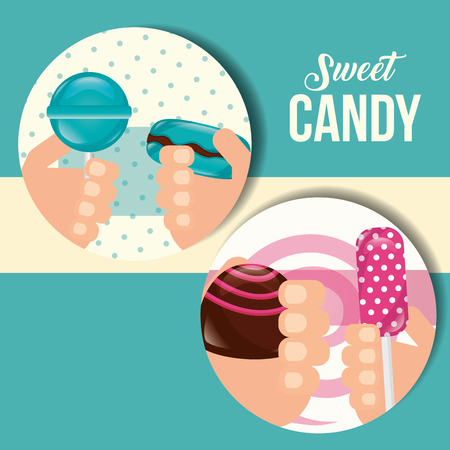 sweet candy stickers hands holding lollipops caramels vector illustration