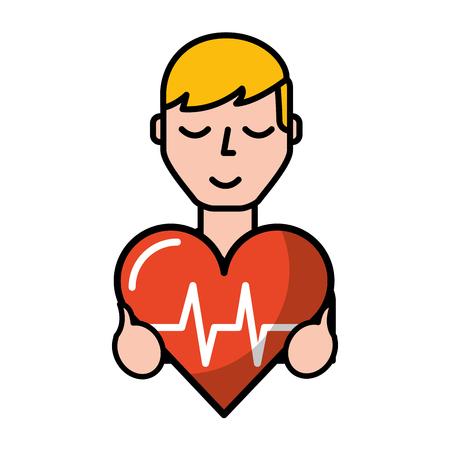 man holding heart rate medical symbol vector illustration