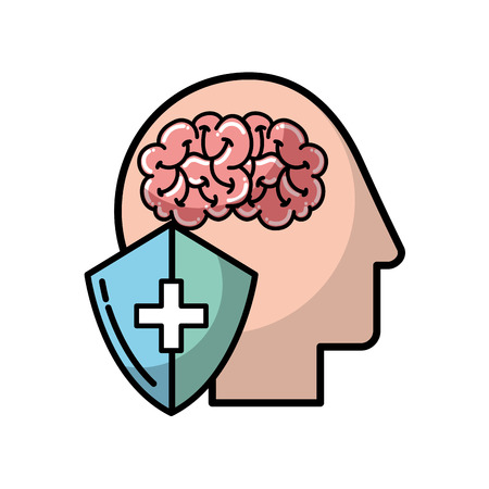 profile human head brain shield protection medical vector illustration