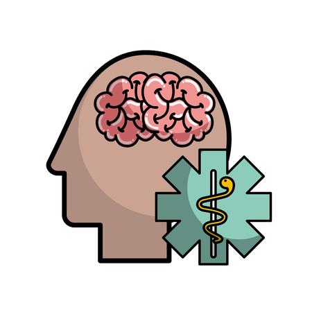 profile human head brain mental caduceus vector illustration