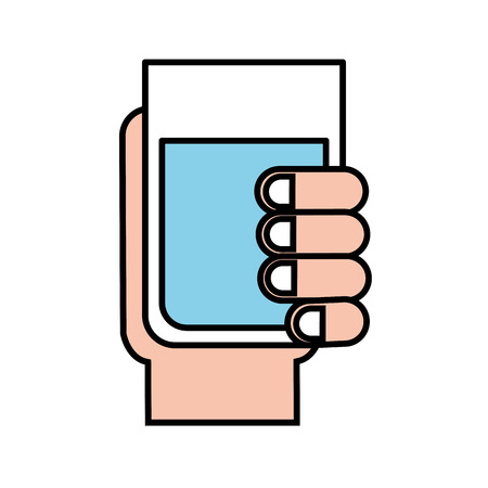 hand holding water glass beverage vector illustration