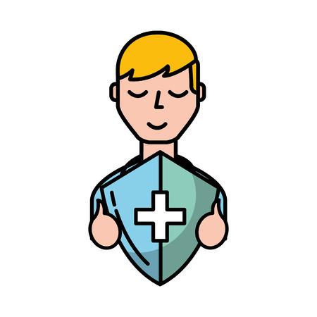 man character holding shield protection medical symbol vector illustration Ilustração