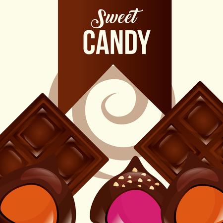 sweet candy chocolate bars macarons ribbon sign vector illustration Illustration