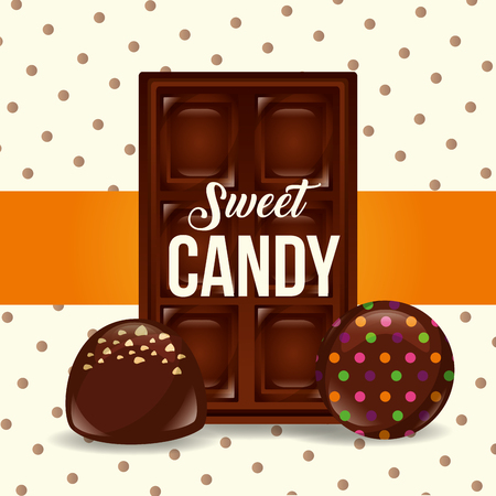 sweet candy chocolate bar chips macarons vector illustration Illustration