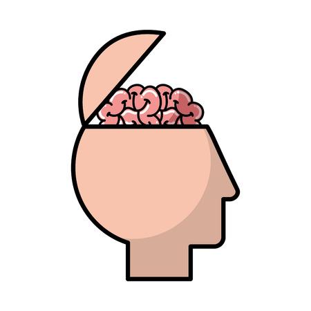 profile human head brain medical vector illustration  イラスト・ベクター素材