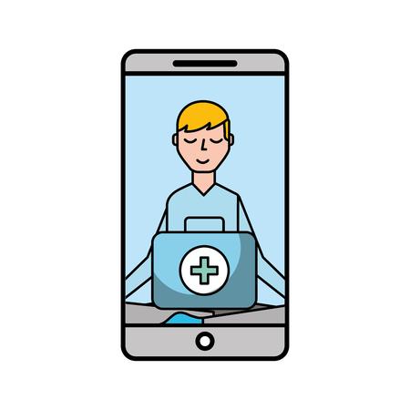 smartphone man meditation medical app vector illustration Banque d'images - 110240954
