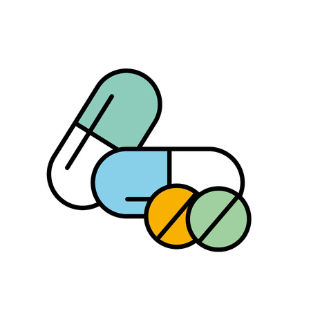 medicine capsule pills pharmacy treatment vector illustration