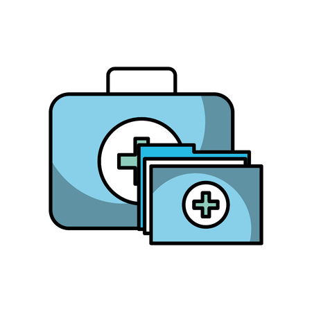 kit first aid folder report medical vector illustration