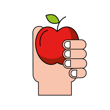 hand holding fruit apple healthcare vector illustration