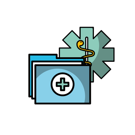 caduceus medical folder report documents vector illustration Vettoriali