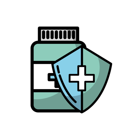 bottle medicine shield protection healthcare vector illustration