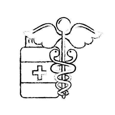 caduceus medical emblem bottle capsule pharmacy vector illustration hand drawing