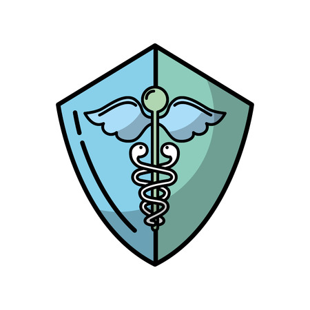 caduceus shield medical healthcare symbol vector illustration Imagens - 107879257