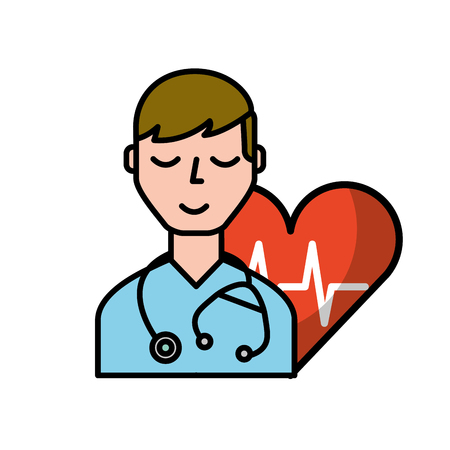 doctor character with stethoscope heart rate care vector illustration