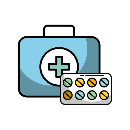 medical kit first aid medication pills vector illustration