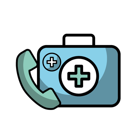medical telephone service kit first aid vector illustration Banque d'images - 107853688