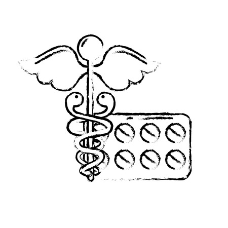 caduceus medical packaging pills healthcare vector illustration hand drawing