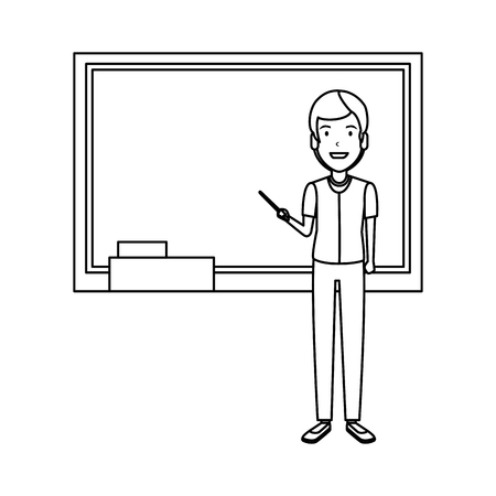 teacher man with pointer and chalkboard vector illustration design
