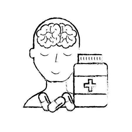 portrait human character mental brain bottle medicine capsule vector illustration hand drawing