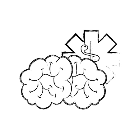 brain mental caduceus healthcare symbol vector illustration hand drawing