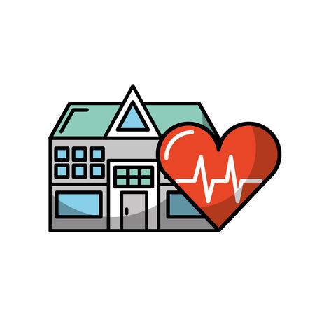 Ilustración de vector de atención médica de frecuencia cardíaca del edificio del hospital
