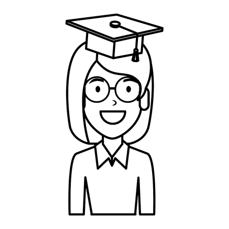 young woman student with hat graduation vector illustration design Çizim