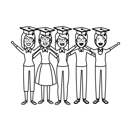 group of students celebrating with hat graduation vector illustration