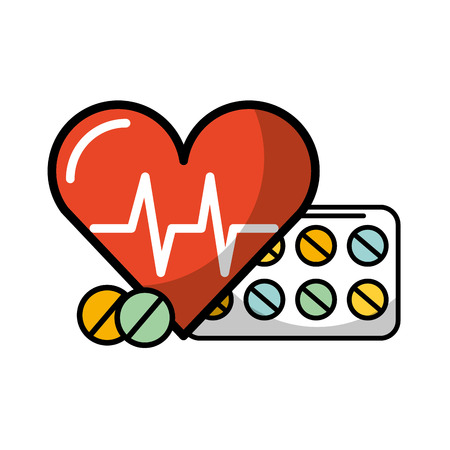 medical heartbeat and medication pills vector illustration