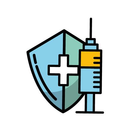 illustrazione vettoriale di protezione dello scudo medico e cura della siringa