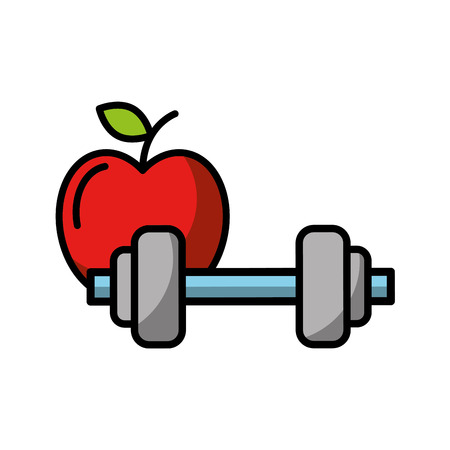 healthcare lifestyle weight barbell and apple vector illustration
