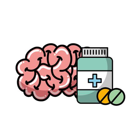 human brain mental care bottle medicine vector illustration