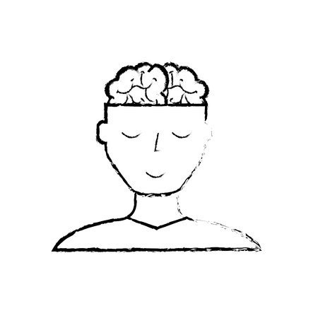 man character mental brain medicine vector illustration hand drawing