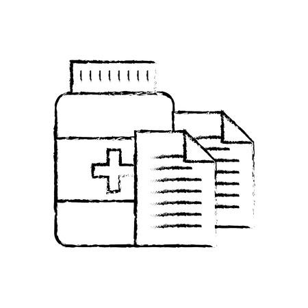 prescription medical bottle pills pharmacy vector illustration hand drawing