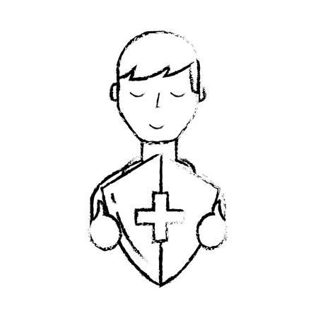 man character holding shield protection medical symbol vector illustration hand drawing