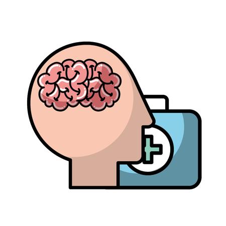 profile human head brain suitcase medical aid vector illustration Standard-Bild - 110240994