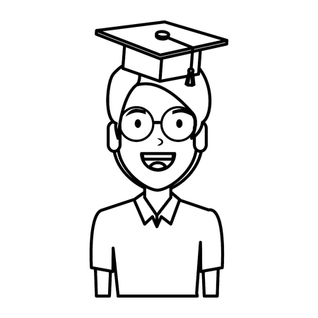 young man student with hat graduation vector illustration design Vectores