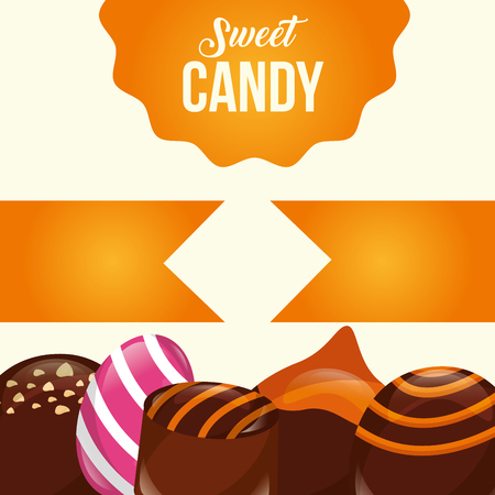 sweet candy ribbons sign macarons almond flavors vector illustration Illustration