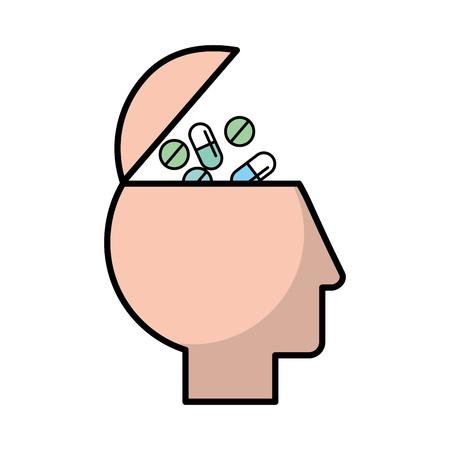 Perfil humano cabeza llena píldoras medicación ilustración vectorial