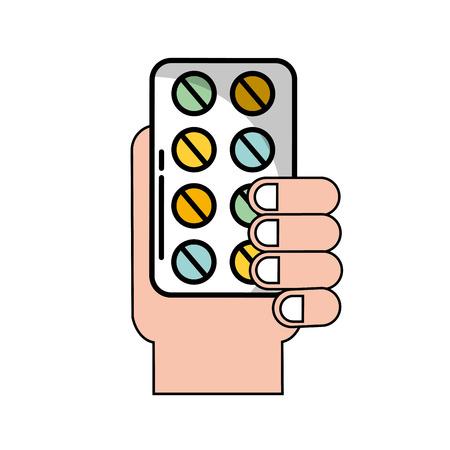 hand holding pills blister medicine vector illustration