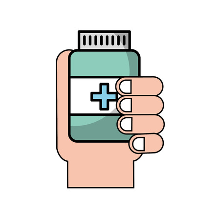 hand holding bottle medicine healthcare vector illustration