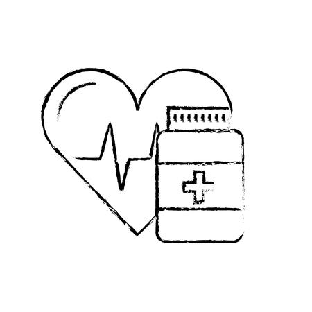 medication pharmacy bottle pills heart care vector illustration hand drawing Stock Illustratie