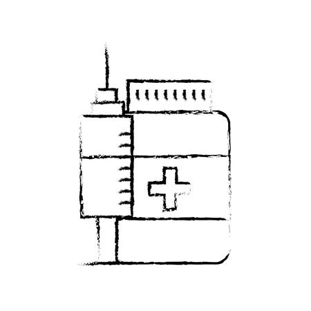 medication bottle pills and syringe vector illustration hand drawing