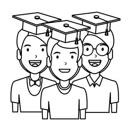 young men students with hat graduation vector illustration design