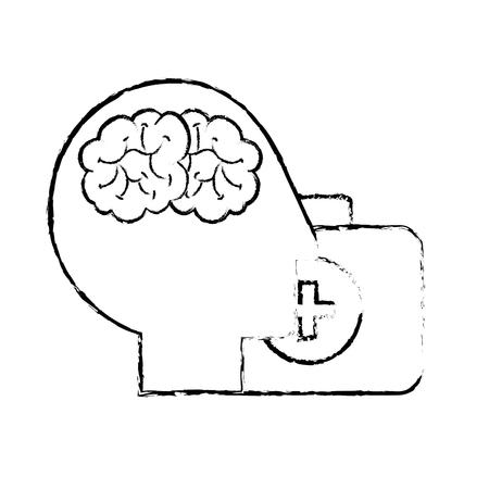profilo testa umana cervello valigia aiuto medico illustrazione vettoriale disegno a mano Vettoriali