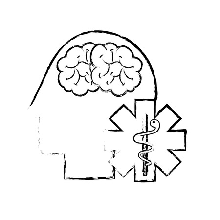 profile human head brain mental caduceus vector illustration hand drawing 일러스트
