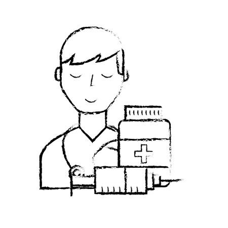 doctor staff medical bottle and syringe vector illustration hand drawing