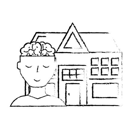 human portrait brain mental hospital health vector illustration hand drawing Illustration