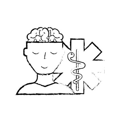 man patient character brain mental caduceus vector illustration hand drawing